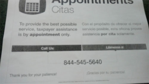 IRS Local Appointment Phone Number 844-545-5640